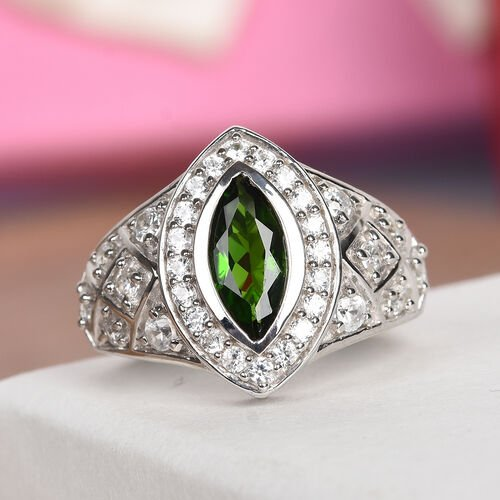 Russian Diopside and Natural Cambodian Zircon Ring in Platinum Overlay Sterling Silver 2.25 Ct, Silver wt 5.21 Gms