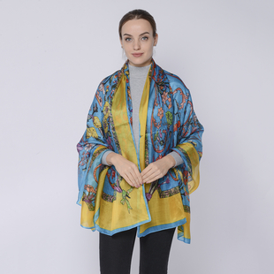 LA MAREY Mulberry Silk Printed Scarf - Blue and Yellow