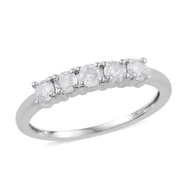 9K White Gold SGL Certified Diamond (Rnd) (I2-I3/G-H) Five Stone Ring 0.500 Ct.