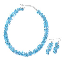2 Piece Set - Blue Colour Beads Necklace (Size 19 with 2.5 inch Extender) and Hook Earrings