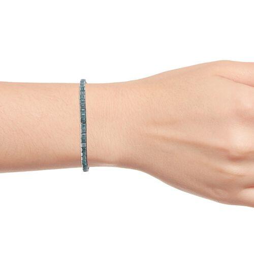Grandidierite (Princess Cut) Tennis Bracelet (Size 7.5) in Platinum Overlay Sterling Silver 8.50 Ct, Silver wt 11.20 Gms