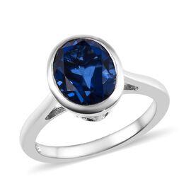 Minas Gerais Twilight Quartz (Ovl) Solitaire Ring (Size S) in Platinum Overlay Sterling Silver 3.25 Ct.