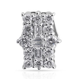 ILIANA 18K White Gold IGI Certified Diamond (Bgt and Rnd) (SI/G-H) Boat Cluster Pendant  0.500 Ct.
