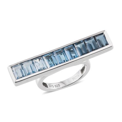 Swiss Blue Topaz (Bgt), London Blue Topaz and Sky Blue Topaz Ring in Platinum Overlay Sterling Silver 2.550 Ct.