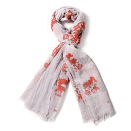 Beige and Red Colour Floral Pattern Scarf (Size 178x100 Cm)