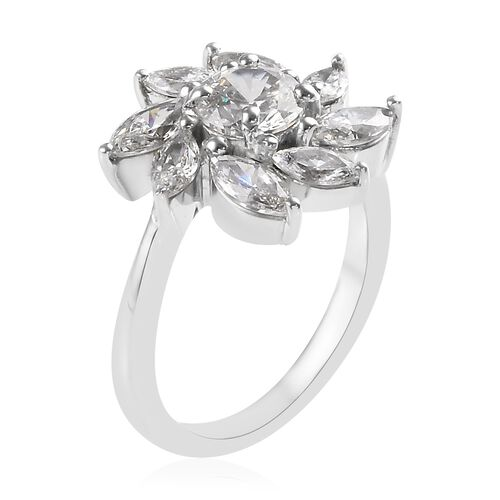 J Francis - Platinum Overlay Sterling Silver (Rnd and Mrq) Ring Made with SWAROVSKI ZIRCONIA 3.820 Ct.