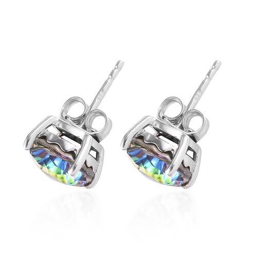 J Francis - Crystal from Swarovski Vitrail Medium Crystal Stud Earrings (with Push Back) in Platinum Overlay Sterling Silver