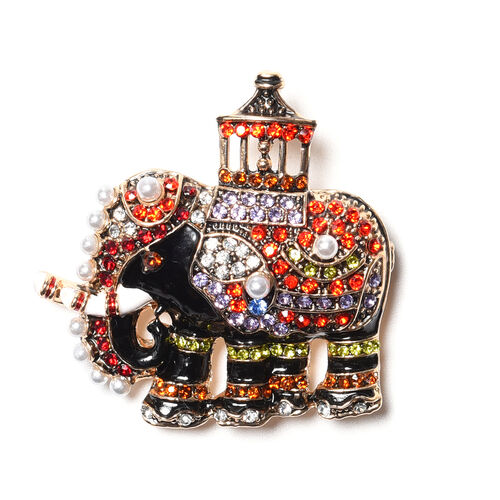 Multi Colour Austrian Crystal and Simulated Pearl Enamelled Elephant Brooch in Gold Tone