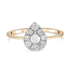 Super Find - 9K Yellow Gold SGL Certified Diamond (I3/ G-H) Ring 0.50 Ct.