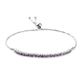 Tanzanite Adjustable Bolo Bracelet (Size 6.5-9) in Platinum Overlay Sterling Silver 1.00 Ct.