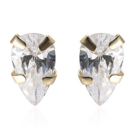 9K Yellow Gold Simulated Diamond (Pear 5x3 mm) Stud Earrings (with Push Back)