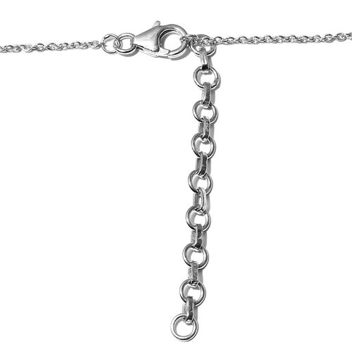 AA Santa Teresa Aquamarine Necklace (Size 18 with 2 inch Extender) in Platinum Overlay Sterling Silver 2.75 Ct