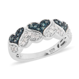 Blue and White Diamond (Rnd) Heart Ring in Blue and Platinum Overlay Sterling Silver 0.250 Ct.