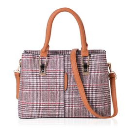 Brown and Red Colour Plaid Pattern Tote Bag with External Zipper Pocket and Removable Shoulder Strap (Size 31.5x21.5x12.5 Cm)