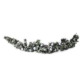 Christmas Deco - Christmas Garland Crescent with Silver Baubles, Berries and Pine Nuts Size 180 cm.