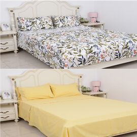 8 Piece Set - 2x Fitted Sheet, 2x Flat Sheet and 4x Pillow Case Set (Size Double) - Yellow