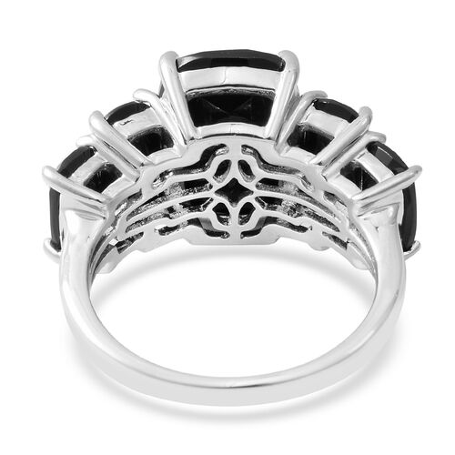 Boi Ploi Black Spinel (Cush) Ring in Rhodium Overlay Sterling Silver 14.270 Ct.