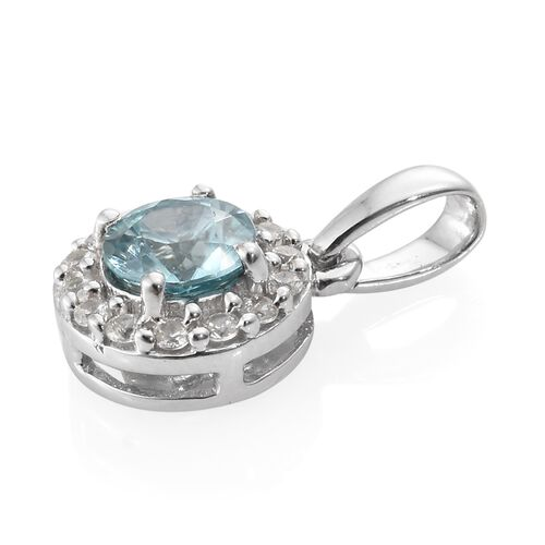 Blue Zircon and Natural Cambodian Zircon Pendant in 9K White Gold 0.75 Ct