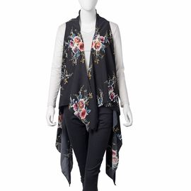 New Season- Black, Pink and Multi Colour Floral Pattern Kimono (Size 145x130 Cm)