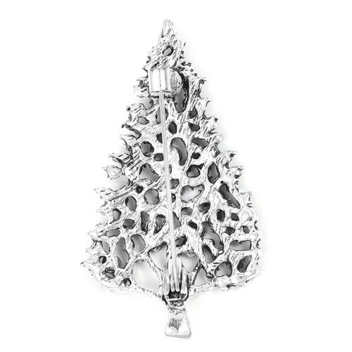 Green and Multi Austrian Crystal Christmas Tree Brooch in Silver Tone