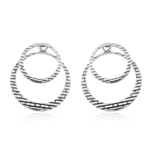 Thai Sterling Silver Double Circle Earrings (with Push Back), Silver wt. 3.64 Gms