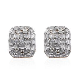 GP Diamond (Bgt), Kanchanaburi Blue Sapphire Stud Earrings (with Push Back) in 14K Gold Overlay Sterling Silver 0.530 Ct. Number of Diamonds 104.