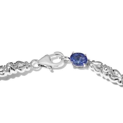 3.75 Ct AAA Tanzanite Bracelet in 9K White Gold 8 Inch