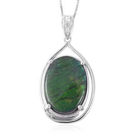 AA Canadian Ammolite (Ovl 18x13 mm), Natural White Cambodian Zircon Pendant With Chain (Size 18) in Rhodium Overlay Sterling Silver