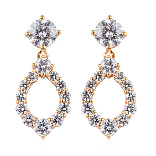 J Francis - 14K Gold Overlay Sterling Silver Drop Earrings (with Push Back) Made with SWAROVSKI ZIRCONIA