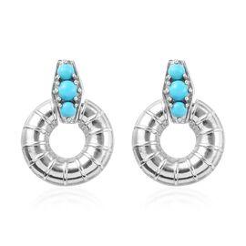 1 Carat Arizona Sleeping Beauty Turquoise Drop Earrings in Platinum Plated Silver 6 Grams