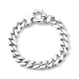 20 Inch Curb Link Statement Necklace in Rhodium Plated Sterling Silver 94.21 Grams