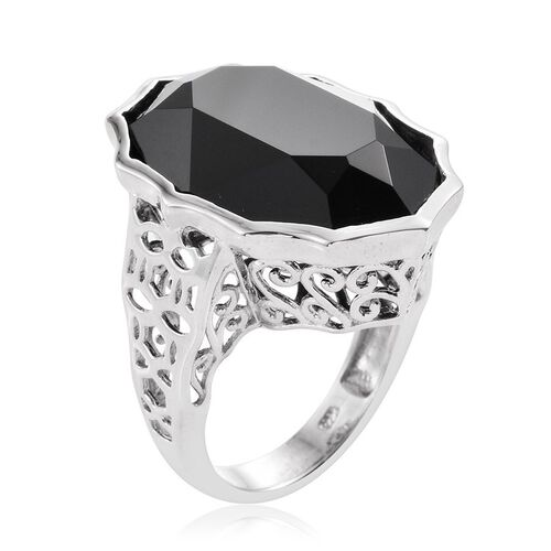 J Francis Crystal from Swarovski - Jet Crystal (Ovl) Ring in Platinum Overlay Sterling Silver