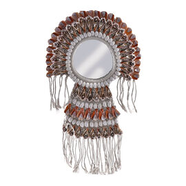 Bali Collection - Home Decor Mirror with Multicolour Seashell Frame (Size 45x30 Cm)