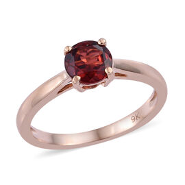 9K Rose Gold AAA Mozambique Garnet (Rnd) Solitaire Ring 1.000 Ct.