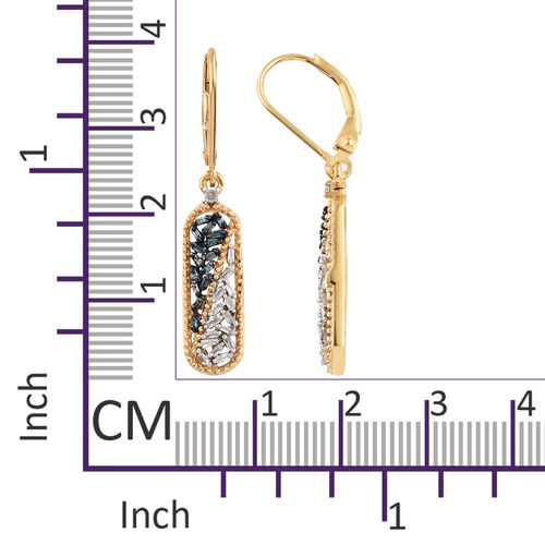 Blue Diamond (Bgt), White Diamond Lever Back Earrings in 14K Gold and Platinum Overlay with Blue Plating Sterling Silver 0.330 Ct