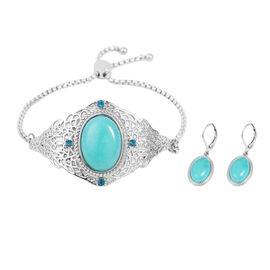 2 Piece Set - Amazonite and Blue Crystal Adjustable Bracelet (Size 6.5 - 9.5) and Lever Back Earring