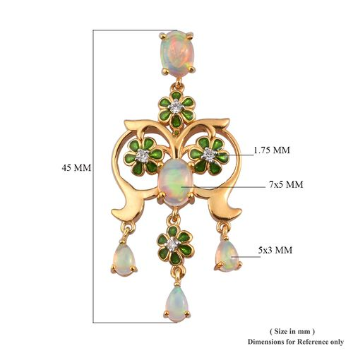 Ethiopian Welo Opal and Natural Cambodian Zircon Enamelled Pendant in 14K Gold Overlay Sterling Silver 1.50 Ct.