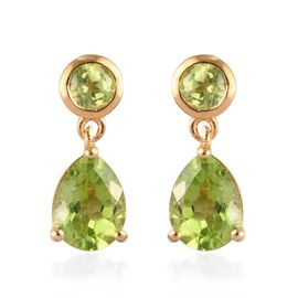 AA Hebei Peridot (Pear and Rnd) Drop Earrings (with Push Back) in 14K Gold Overlay Sterling Silver 2