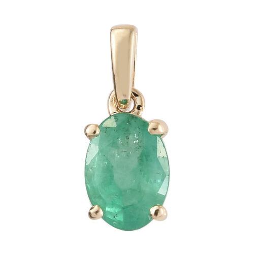 9K Yellow Gold AA Kagem Zambian Emerald (Ovl) Solitaire Pendant 0.600 Ct.