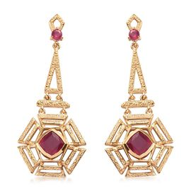 African Ruby Dangle Earrings (with Push Back) in 14K Gold Overlay Sterling Silver  3.00 Ct, Silver w