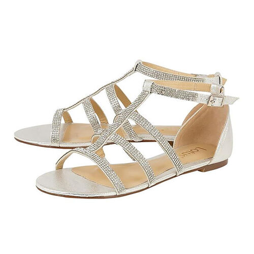 Lotus Silver & Diamante Zelina Flat Strappy Sandals (Size 3)