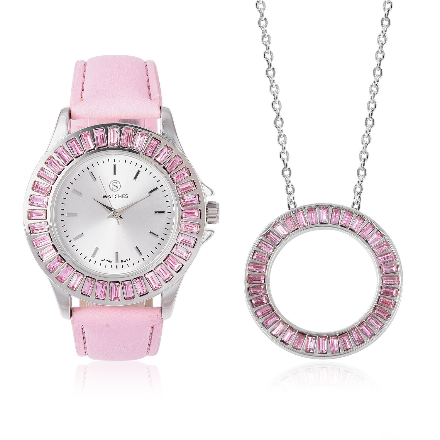 2 Piece Set STRADA Japanese Movement Water Resistant Simulated Pink Diamond Studded Watch with Pink Strap and Necklace Size 24