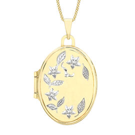 9K White and Yellow Gold Floral Oval Locket Pendant