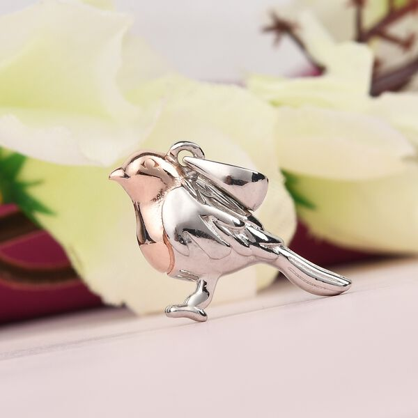 UK  favourite - Platinum and Rose Gold Overlay Sterling Silver Robin Bird Pendant