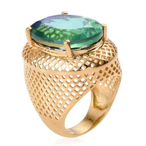 Peacock Quartz (Ovl) Ring in 14K Gold Overlay Sterling Silver 19.000 Ct.
