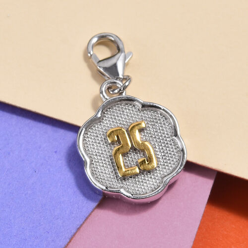 25 Birthday Anniversary Charm in Platinum and Yellow Gold Overlay Sterling Silver