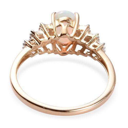 9K Yellow Gold Ethiopian Welo Opal and Diamond Ring