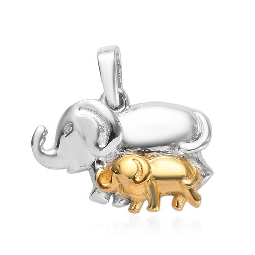 Platinum and Yellow Gold Overlay Sterling Silver Mother and Baby Elephant Pendant