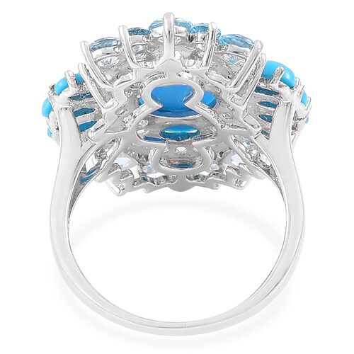 Arizona Sleeping Beauty Turquoise (Rnd), Swiss Blue Topaz and White Zircon Ring in Platinum Overlay Sterling Silver 6.500 Ct.