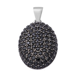 Natural Boi Ploi Black Spinel (Rnd) Pendant in Rhodium and Black Overlay Sterling Silver 2.75 Ct.